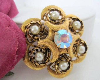 Pearl Brooch -Aurora Borealis Rhinestone Center - Gold Dome Shaped Pin