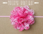 75% Off- Pink White Hearts Lace Flower Headband/ Newborn Headband/ Baby Headband/ Photo Prop