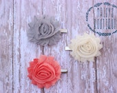 75% Off Hair Clip Set of 3- Grey, Ivory, Coral Flower Clips/ Hair Clips/ Baby Hair/ Wedding/ Photo Prop