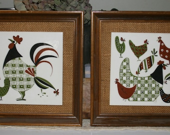 Vintage Marad Mfrs New York Chicken Tiles Framed Mid Century Modern Decor