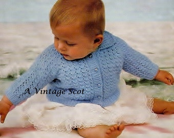 Baby Collared Lumber Jacket / Sweater Instructions for 3ply, 4ply, Qk and Dk sizes 18 - 22 ins -  PDF of Vintage Knitting Patterns