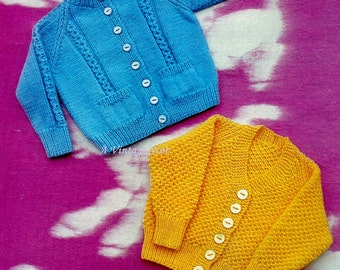 Children's Cardigans / Sweaters with or without Pockets, 2 styles for sizes 20 - 24 ins in QK 8ply  yarn -  PDF of Vintage Knitting Patterns