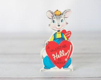 1960 Valentines Card- Bunny Rabbit Teacher  JL