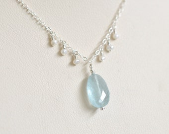 Aquamarine Necklace- Freshwater Pearl Necklace- March Birthstone Jewelry- Baby Blue Necklace- Gemstone Necklace- Sterling Silver Necklace