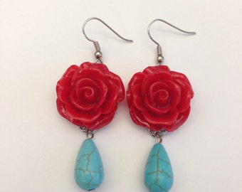 Red resin rose and turquoise earrings