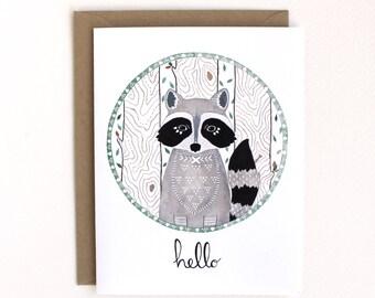 Hello Card Set - Greeting Card Set - Raccoon Illustration Card