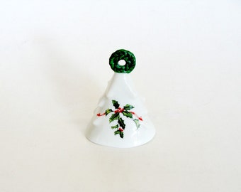 Lefton Porcelain Christmas Tree Shaped Dinner Bell with Wreath Handle, Xmas Holly Berries Bell, Collectible Hand Bell, Christmas Decor