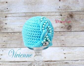 Newborn Cloche - Cable Hat - Vivienne Hat ~ Photo Prop - Baby Girl