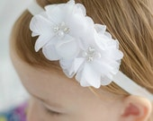 White Rhinestone Soft Chiffon Headband. Pearl Preemie Wedding Flower Solid White Headband for Baby