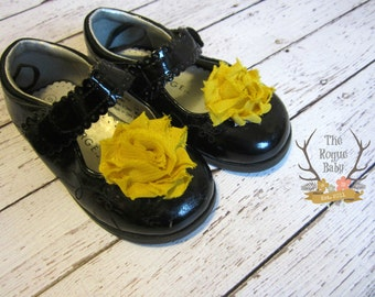 Mustard Yellow Chiffon Rosette Shoe Clips. Wedding Photo Prop Baby Toddlers Girls Women Dress Shoes Flower Girl
