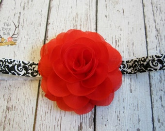 Red Rose Flower Headband with Black & White Damask Elastic -  Baby Infant Toddlers Girls Women