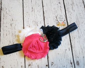 Nautical Anchor Headband - Navy Blue Hot Pink White Baby Headband - Newborn Infant Baby Toddler Girls Adult Nautical