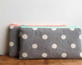 White Polka Dots on Gray Pencil Case, Mint Gray, Light Pink Gray, Cute Pencil Case, Back to School, Mint and Grey, Pink and Grey