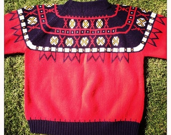 Awesome Vintage 60s Scandinavian Design JCPenney Red White & Blue Sweater Jumper - Size Large