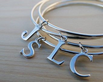 Silver Initial Bangle - Sterling Silver