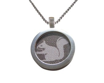 Gray Squirrel Pendant Necklace