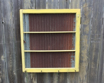 Reclaimed Old Window - Shabby Chic Yellow Frame - Rusty Magnetic BARN TIN - Rustic ARROW Knobs - Salvaged Farmhouse Chic - Vintage Wedding