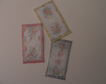One Inch Scale Dollhouse Miniature Shabby Chic Set of Pastel Vintage Dish Towels