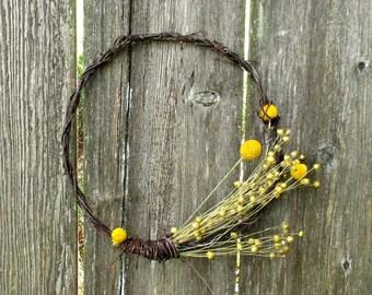 Year Round Wreath, Wall Decor, All Natural Dried Wreath - Eclipse - Silver Birch, Flax & Billyball