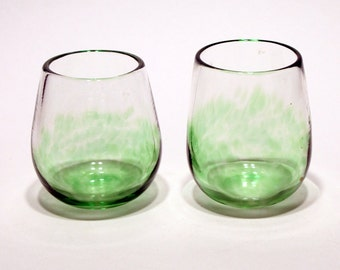 Items similar to pair of hand blown stemmed wine glasses on etsy - Hand blown stemless wine glasses ...