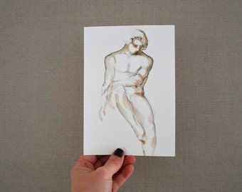 A5 Original male nude drawing on acid free paper - modern male nude ink pencil drawing figurative pose by Cristina Ripper