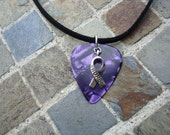 Hope Ribbon Guitar Pick Necklace, Pancreatic, Testicular, Thyroid Cancer. Alzheimer's, 9/11. Purple with Hope Ribbon Charm,