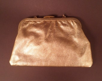 Gold Soft Leather Calderon Vintage Clutch Purse