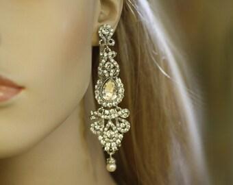 bridal earrings, Wedding, crystal, Chandelier Earrings, Vintage Jewelry, Pearl earrings