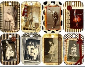 Costume Digital Holiday Vintage Pierrot Printable Tags for Scrapbooking, ATC, Altered Art, Cards and Invites