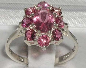 Solid 9K White Gold 1.63ct Natural Pink Tourmaline Cluster Flower Ring, Anniversary Ring - October Birthstone - Customizable