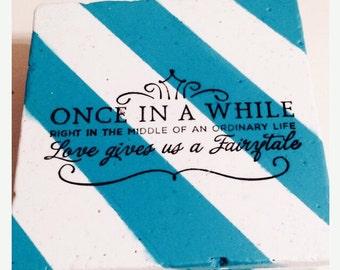 Fairytale Coasters Aqua Coasters Disney Coasters Wedding Favor Coasters