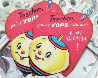 Teacher Valentine Gift Tags (6) Valentine Favor Tags-Valentine Treat Tags-Classroom Valentine-Valentines for Kids-Retro Valentine Card