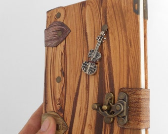 Handmade Hand Painted Guitar Emblem  Leather  Bound Journal Notebook Sketchbook Diary