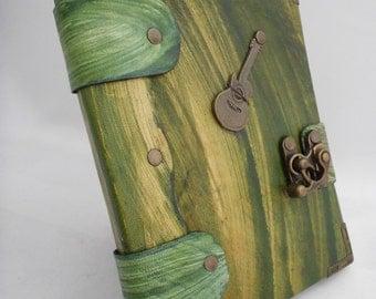 Handmade Hand Painted Guitar Emblem Green Leather  Bound Journal Notebook Sketchbook Diary