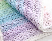 Crochet Pattern Rainbow Baby Blanket Pretty Popcorn Stitch Digital Download