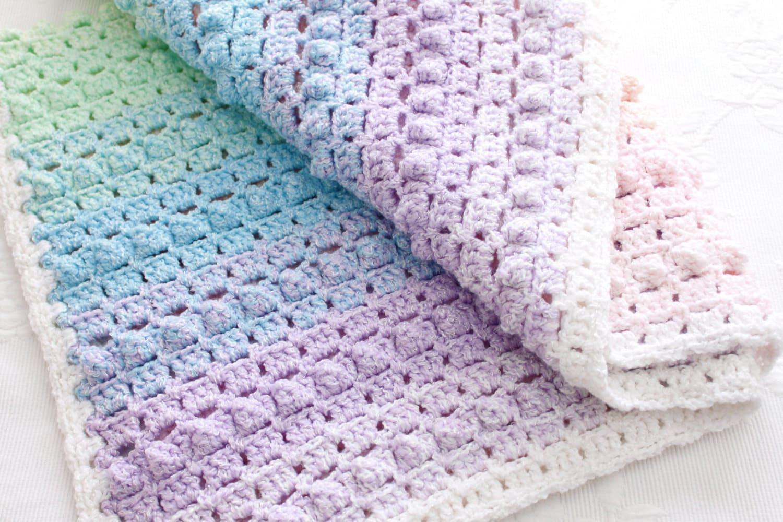 Crochet Rainbow Baby Blanket Pattern By Flavia : Crochet Pattern Rainbow Baby Blanket Pretty Popcorn Stitch