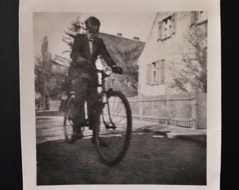 Original Antique Photograph The Blinded Cyclist