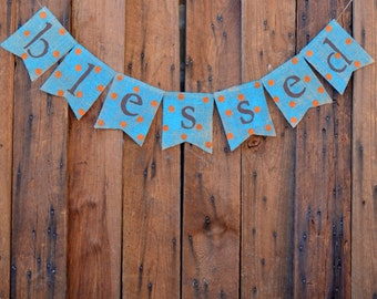 shabby chic BLESSED BURLAP banner for FALL
