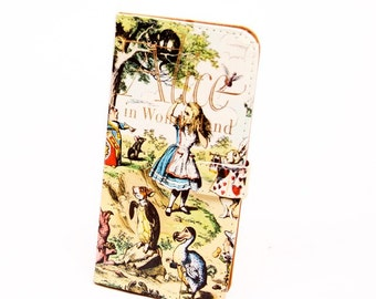 Book phone /iPhone flip Wallet case- Alice in Wonderland for iPhone 8, 7, 6, 6 & 7 plus, 5, 5s, 5c 4 Samsung Galaxy S8 S7 S6 S5 Note 4 5 7 8