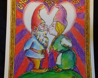 "Gnome is Where the Heart Is. 8.5"" x 11"" Signed Digital Print. Gnomes in Love."
