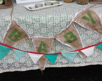 Upcycled BABY Burlap Banner (with lime green painted letters and white felt backing) Eco-Friendly Home Decor for Baby Room/Nursery