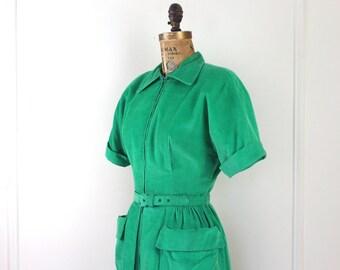 vintage 1950s Bright Green Corduroy Shirt Waist Dress - size medium to large