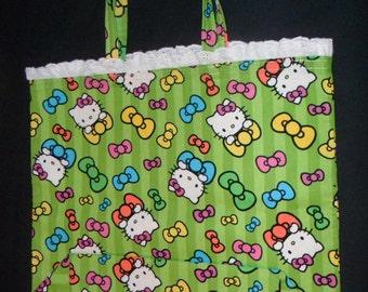 Reusable Shopping Bag, sturdy cotton  fabric, Hello Kitty. recycle fabric bag