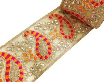 Hot Pink, Orange and Gold Embroidery Kundan Lace - Stone Work Border By Yard - Glass Bead Work Embellishment