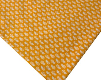Indian Cotton Fabric - Tiny Paisley Print in Yellow and White - Block Printed Cotton Fabric by the Yard