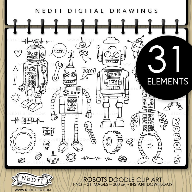 Cute Robot Doodles Cute Robots Doodle Clip Art