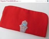 Black Friday Sales Jewelry Roll - Red Canvas Fabric Handmade Hand of Fatima Hamsa