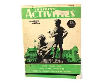 Vtg 1938 Illustrated Children's Activities Book