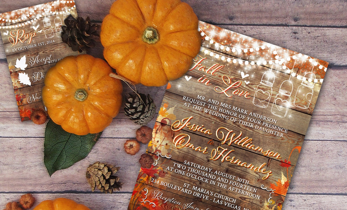 Diy Autumn Wedding Invitations: Rustic Wedding Invitation Mason Jar Wedding Fall Wedding