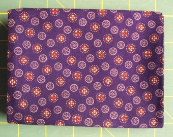 Navy Blue Fat Quarter with Red and White Circles